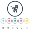 Checkout flat color icons in round outlines - Checkout flat color icons in round outlines. 6 bonus icons included.