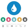 Single drop flat round icons - Single drop flat white icons on round color backgrounds. 6 bonus icons included.