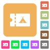 Camping discount coupon rounded square flat icons - Camping discount coupon flat icons on rounded square vivid color backgrounds.