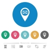 Send GPS map location as email flat white icons on round color backgrounds. 6 bonus icons included. - Send GPS map location as email flat round icons