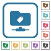 FTP tag simple icons - FTP tag simple icons in color rounded square frames on white background