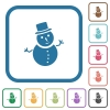 Snowman simple icons in color rounded square frames on white background
