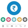 Indian Rupee sticker flat round icons - Indian Rupee sticker flat white icons on round color backgrounds. 6 bonus icons included.