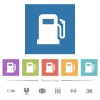 Gas station flat white icons in square backgrounds. 6 bonus icons included.