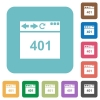 Browser 401 Unauthorized rounded square flat icons - Browser 401 Unauthorized white flat icons on color rounded square backgrounds