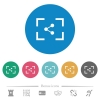 Camera share image flat round icons - Camera share image flat white icons on round color backgrounds. 6 bonus icons included.