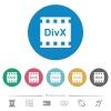DivX movie format flat round icons - DivX movie format flat white icons on round color backgrounds. 6 bonus icons included.