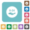 24 hours service sticker rounded square flat icons - 24 hours service sticker white flat icons on color rounded square backgrounds