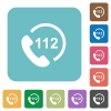 Emergency call 112 rounded square flat icons - Emergency call 112 white flat icons on color rounded square backgrounds