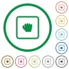 Grab object flat icons with outlines - Grab object flat color icons in round outlines on white background