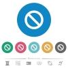 Blocked flat round icons - Blocked flat white icons on round color backgrounds. 6 bonus icons included.