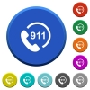 Emergency call 911 beveled buttons - Emergency call 911 round color beveled buttons with smooth surfaces and flat white icons