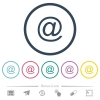 Single email symbol flat color icons in round outlines - Single email symbol flat color icons in round outlines. 6 bonus icons included.