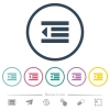 Decrease text indentation flat color icons in round outlines - Decrease text indentation flat color icons in round outlines. 6 bonus icons included.