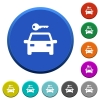 Car rental round color beveled buttons with smooth surfaces and flat white icons