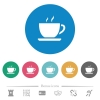 Cup of coffee flat round icons - Cup of coffee flat white icons on round color backgrounds. 6 bonus icons included.