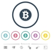 Bitcoin sticker flat color icons in round outlines - Bitcoin sticker flat color icons in round outlines. 6 bonus icons included.