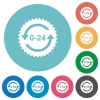 24 hours sticker with arrows flat round icons - 24 hours sticker with arrows flat white icons on round color backgrounds