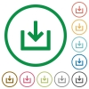 Import item flat color icons in round outlines on white background - Import item flat icons with outlines