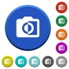 Monochrome photos beveled buttons - Monochrome photos round color beveled buttons with smooth surfaces and flat white icons