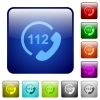 Emergency call 112 color square buttons - Emergency call 112 icons in rounded square color glossy button set