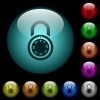 Locked round combination lock icons in color illuminated glass buttons - Locked round combination lock icons in color illuminated spherical glass buttons on black background. Can be used to black or dark templates