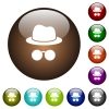 Incognito with glasses color glass buttons - Incognito with glasses white icons on round color glass buttons