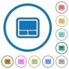 Laptop touchpad icons with shadows and outlines - Laptop touchpad flat color vector icons with shadows in round outlines on white background