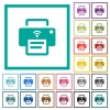Wireless printer flat color icons with quadrant frames - Wireless printer flat color icons with quadrant frames on white background