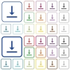 Vertical align bottom color flat icons in rounded square frames. Thin and thick versions included. - Vertical align bottom outlined flat color icons
