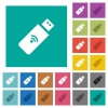 Wireless usb stick square flat multi colored icons - Wireless usb stick multi colored flat icons on plain square backgrounds. Included white and darker icon variations for hover or active effects.