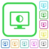 Adjust screen contrast vivid colored flat icons - Adjust screen contrast vivid colored flat icons in curved borders on white background