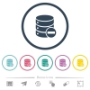 Remove from database flat color icons in round outlines. 6 bonus icons included.