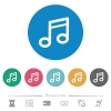 Music note flat round icons - Music note flat white icons on round color backgrounds. 6 bonus icons included.