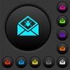Open mail with malware symbol dark push buttons with color icons - Open mail with malware symbol dark push buttons with vivid color icons on dark grey background