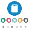 SD memory card flat round icons - SD memory card flat white icons on round color backgrounds. 6 bonus icons included.