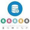 Delete from database flat round icons - Delete from database flat white icons on round color backgrounds. 6 bonus icons included.
