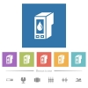 Ink cartridge flat white icons in square backgrounds - Ink cartridge flat white icons in square backgrounds. 6 bonus icons included.