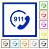Emergency call 911 flat framed icons - Emergency call 911 flat color icons in square frames on white background