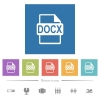 DOCX file format flat white icons in square backgrounds - DOCX file format flat white icons in square backgrounds. 6 bonus icons included.