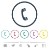 Telephone call symbol flat color icons in round outlines - Telephone call symbol flat color icons in round outlines. 6 bonus icons included.