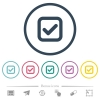 Checkbox flat color icons in round outlines - Checkbox flat color icons in round outlines. 6 bonus icons included.
