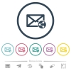 Share mail flat color icons in round outlines. 6 bonus icons included.