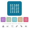 Binary code flat icons on color rounded square backgrounds - Binary code white flat icons on color rounded square backgrounds. 6 bonus icons included