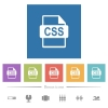 CSS file format flat white icons in square backgrounds. 6 bonus icons included.