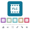 FLC movie format flat icons on color rounded square backgrounds - FLC movie format white flat icons on color rounded square backgrounds. 6 bonus icons included