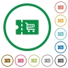 Cart discount coupon flat icons with outlines - Cart discount coupon flat color icons in round outlines on white background