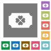 Lottery ticket square flat icons - Lottery ticket flat icons on simple color square backgrounds