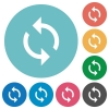 Programming loop flat round icons - Programming loop flat white icons on round color backgrounds