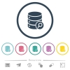 Database search flat color icons in round outlines - Database search flat color icons in round outlines. 6 bonus icons included.